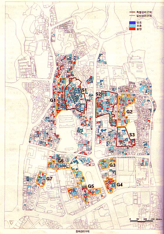 Map showing Hanok Protection Areas (2001)